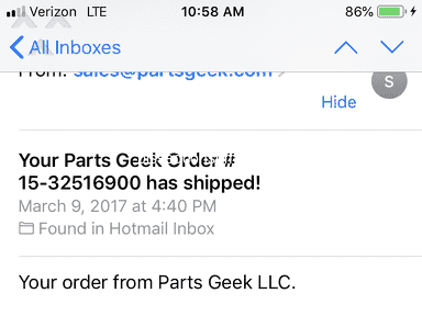 Partsgeek - Warranty on product purchased