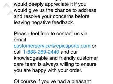 EPIC Sports - HORRIBLE CUSTOMER SERVICE