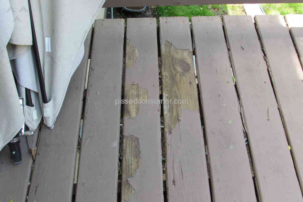 Behr waste of money and time peeling off all over our for Behr deck over