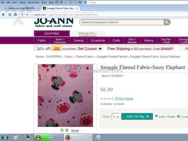 Joann Fabric Shipping Service review 49777