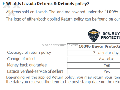 Lazada Thailand - Returns policy is a lie