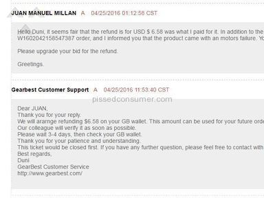 Gearbest Customer Care review 130123