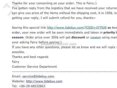 I returned my order but Tidebuy is not going to give me the refund!