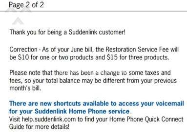 Suddenlink - Service Restoration Fee (Amarillo, TX market and maybe others?)