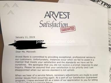 Arvest Bank - Fraudulent Aug 10, 2019 @ Pissed Consumer