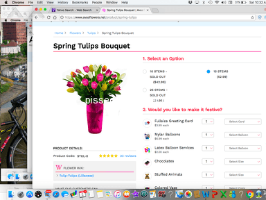 Avasflowers - Bait and switch. Fifteen tulips purchased, generic bouquet delivered a day late