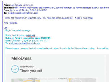 MeloDress - Will not answer my emails for a return request and NO toll free number