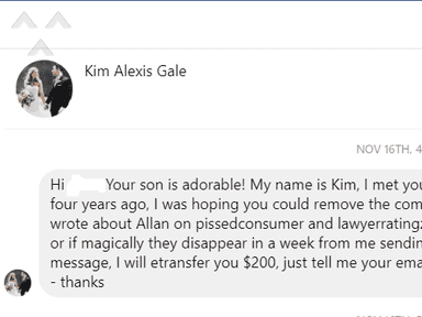 Wagner Sidlofsky - Kim Appotive Gale Stalks Former Clients on Facebook