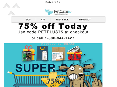 Petcarerx - How have they not been sued yet??? The PetPlus75 promo code is a SCAM!!!!