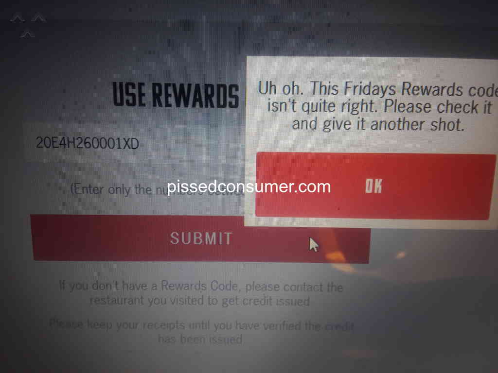 Tgi Fridays Not Being Able To Get Credit On Rewards