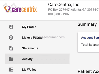 Carecentrix - Terrible online portal. Showed no balance yet sent me to collections