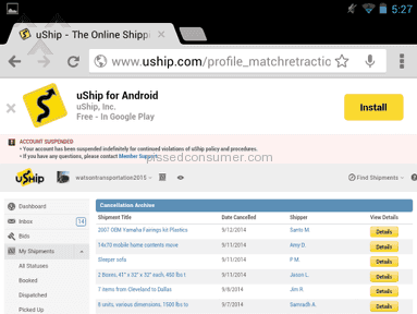 Uship Account review 48701