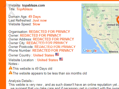TopAblaze Com - Scam website