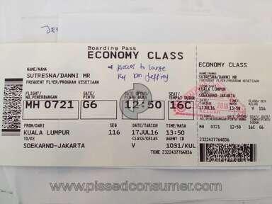 Malaysia Airlines Customer Care Review from Kuala Lumpur, Kuala Lumpur