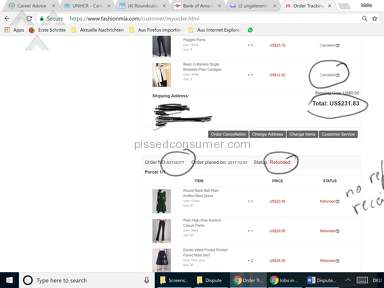 Fashionmia - Card overcharged, order cancelled, no refund until today