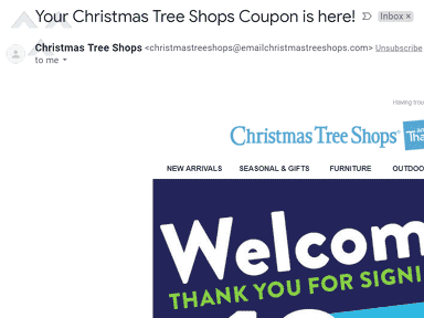 Christmas Tree Shops - Offered online coupon that didn't work