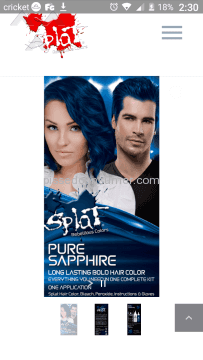 Splat Hair Color Pure Sapphire Hair Dye