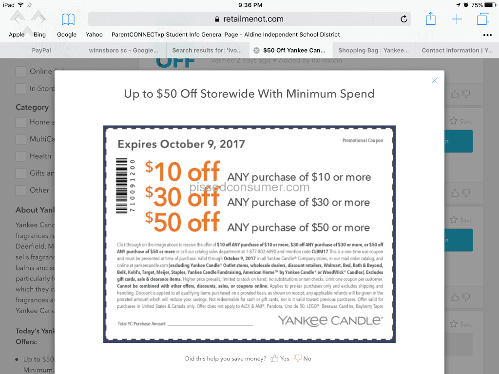 Yankee Candle - Will not honor their coupon Feb 04, 2018