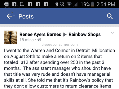 Rainbow Shops Return Policy Review from Detroit, Michigan