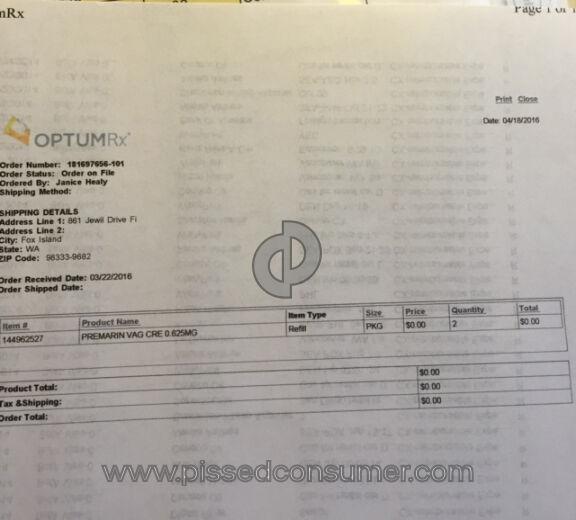 Optumrx Premarin Prescription Refill