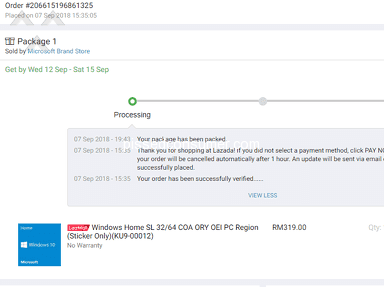 Lazada Malaysia - Lazmall Microsoft shop gone with my money