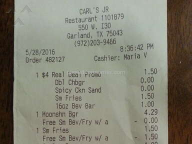 Carls Jr Restaurant Customer Care Review from Fort Worth, Texas
