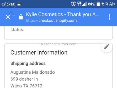 Shopify Kylie Cosmetics Shipping Service review 187056
