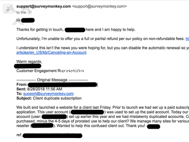 SurveyMonkey - Bad refund policy from a once-respected SaaS