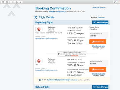 CheapOair Flight Booking review 544193