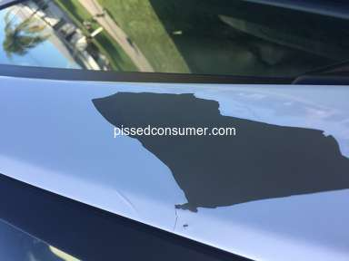Kia Motors - 2014 paint peeling size of palm in several areas along window
