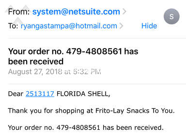 Frito Lay - Late orders