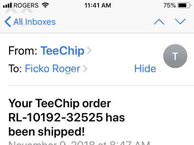TeeChip - Paid for a T-Shirt at around Nov 8, 2018 and yet to receive it at Dec 25, 2018