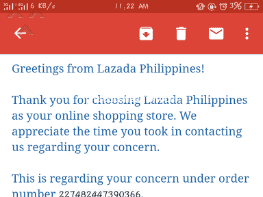 Lazada Philippines Customer Care review 388110