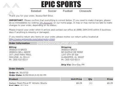 EPIC Sports - TOOK MY MONEY AND WOULD NOT ISSUE REFUND
