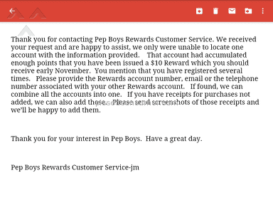 Pep Boys - Rewards program and useless gimick. cost me more than it helped