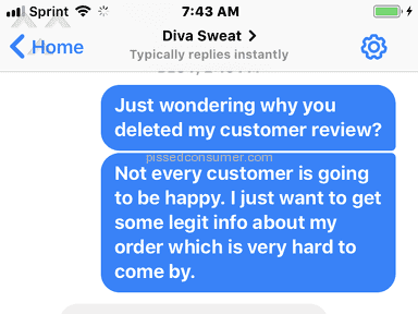 Diva Sweat terrible customer service!