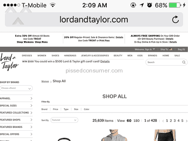 Lord And Taylor - The website is not Mobile friendly