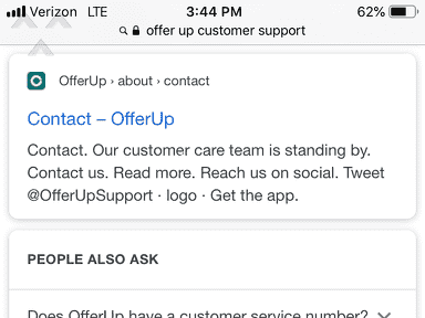 Offerup - False & Misleading Contact Info