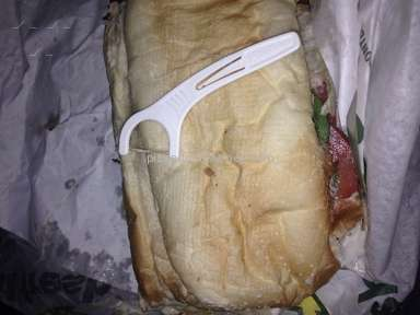 Subway - FOUND USED DENTAL FLOSSER IN MY SANDWICH