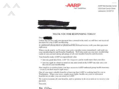 AARP SCAM to enlist membership of elderly