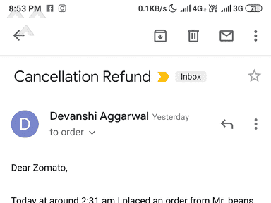 Zomato - Cancellation refund
