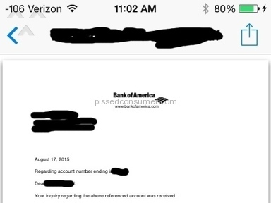 Bank Of America - Letter request via e-mail