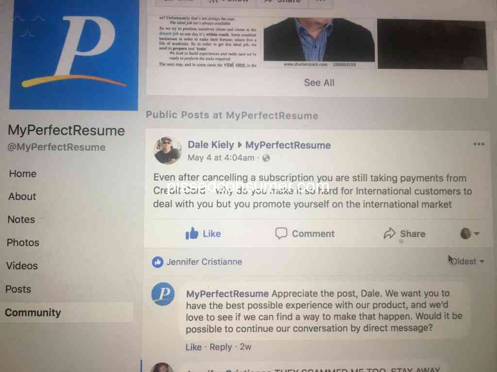 544 my perfect resume reviews and complaints   pissed consumer