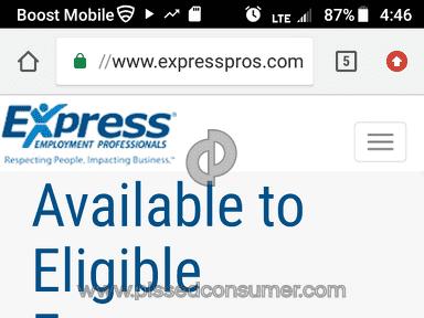 Express Employment Professionals - CONSUMER ALERT!! EMPLOYEE BEWARE!!!!!
