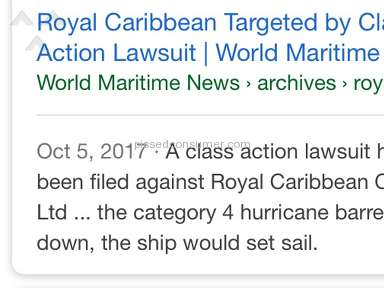 Royal Caribbean Cruises Class Action NOW sailed in Hurricane