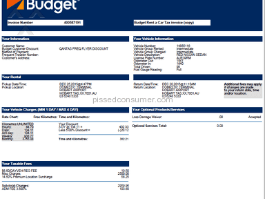 Budget Rent A Car - Budget debited my credit card $3,369.92 for 3 days car rental