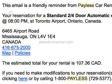 Payless Car Rental - Misleading Quote at Payless Toronto Location