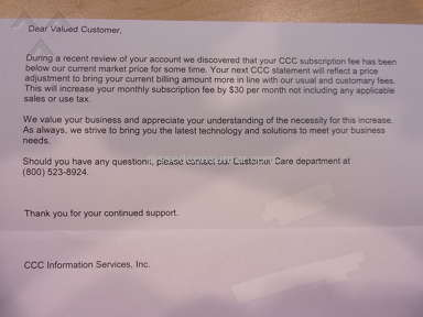CCC Information Services - Bad Customer Service