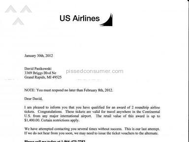Us Airways - Free air line tickets scam