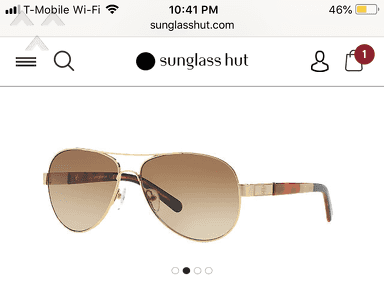 Sunglass Hut - Defect glasses from Tory Burch that I purchased